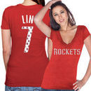 Majestic Threads Jeremy Lin Houston Rockets Women's Name & Number Tri-Blend T-Shirt - Red