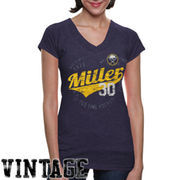 Old Time Hockey Ryan Miller Buffalo Sabres Women's Nesbit Tri-Blend T-Shirt - Navy Blue