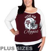 Texas A&M Aggies Women's Plus Sizes Raglan Three-Quarter Sleeve T-Shirt - Maroon/White