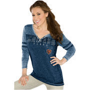 Touch by Alyssa Milano Chicago Bears Women's Gridiron Tri-Blend Long Sleeve V-Neck T-Shirt - Navy Blue