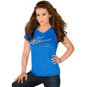 Touch by Alyssa Milano Carl Edwards Women's V-Neck Tri-Blend Slim Fit T-Shirt - Royal Blue