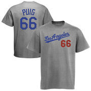 Yasiel Puig Los Angeles Dodgers Majestic Threads Premium Tri-Blend Name & Number T-Shirt - Gray