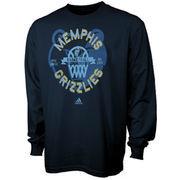 Memphis Grizzlies adidas Youth Classic Basket Long Sleeve T-Shirt - Navy Blue