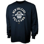 New Orleans Pelicans adidas Youth Classic Basket Long Sleeve T-Shirt - Navy Blue