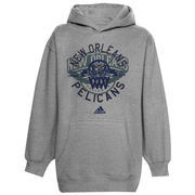 adidas New Orleans Pelicans Youth Classic Basket Pullover Hoodie - Ash