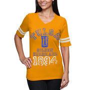 Tulsa Golden Hurricane Women's Football V-Neck Slim Fit T-Shirt - Gold