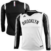 adidas Brooklyn Nets Youth On-Court Impact Long Sleeve Shooting Shirt - White/Black