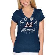 Tony Stewart Women's Leadoff V-Neck T-Shirt - Navy Blue