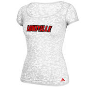 adidas Louisville Cardinals Women's Brushed Script Scoop Neck Burnout T-Shirt - White