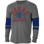 Texas Rangers 2 Step Cotton Sueded Long Sleeve T-Shirt - Charcoal