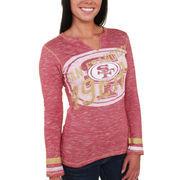 San Francisco 49ers Majestic Women's Gametime Gal V-Neck Long Sleeve T-Shirt - Scarlet