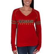 San Francisco 49ers Majestic Women's Deep Fade Route Long Sleeve T-Shirt - Scarlet