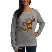 Minnesota Golden Gophers Pressbox Women's Big Canvas Knobi Fleece Sweatshirt - Gray