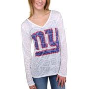 New York Giants Women's Sublime Burnout V-Neck Long Sleeve T-Shirt - White