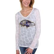 Baltimore Ravens Women's Sublime Burnout V-Neck Long Sleeve T-Shirt - White