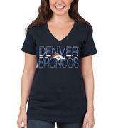 Denver Broncos 5th & Ocean by New Era Women's Lounge V-Neck T-Shirt - Navy Blue