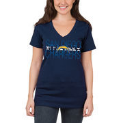 San Diego Chargers 5th & Ocean by New Era Women's Lounge V-Neck T-Shirt - Navy Blue