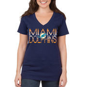 Miami Dolphins 5th & Ocean by New Era Women's Lounge V-Neck T-Shirt - Navy Blue