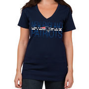 New England Patriots 5th & Ocean by New Era Women's Lounge V-Neck T-Shirt - Navy Blue
