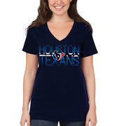 Houston Texans 5th & Ocean by New Era Women's Lounge V-Neck T-Shirt - Navy Blue