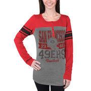 San Francisco 49ers 5th and Ocean by New Era Women's Tri-Blend Henley Long Sleeve T-Shirt - Gray