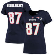 Rob Gronkowski New England Patriots Majestic Women's Fair Catch V Name & Number T-Shirt - Navy Blue