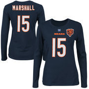 Brandon Marshall Chicago Bears Majestic Womens Fair Catch V Name and Number Long Sleeve T-Shirt - Navy Blue