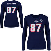 Rob Gronkowski New England Patriots Majestic Womens Fair Catch V Name and Number Long Sleeve T-Shirt - Navy Blue