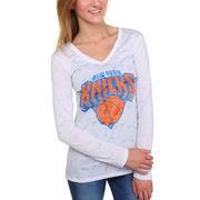 New York Knicks Women's Sublime Burnout V-Neck Long Sleeve T-Shirt - White