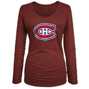 Montreal Canadiens 5th & Ocean by New Era Women's Core Primary Logo Tri-Blend Long Sleeve T-Shirt - Red