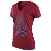 St. Louis Cardinals Nike Women's Red Dri-FIT Legend V-Neck Big Graphic Logo T-Shirt