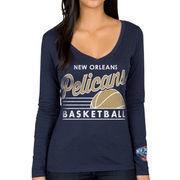 New Orleans Pelicans Women's Fall V-Neck Long Sleeve T-Shirt - Navy Blue
