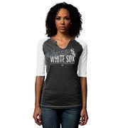 Chicago White Sox Majestic Women's Playful Pitch Raglan T-Shirt - Black