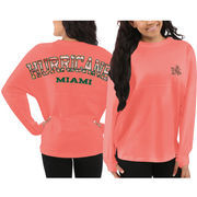 Miami Hurricanes Pressbox Women's Aztec Sweeper Long Sleeve Oversized Top - Orange