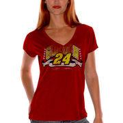 Jeff Gordon Women's 4Her Splash Go V-Neck T-Shirt - Red