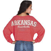 Arkansas Razorbacks chicka-d Women's Cropped Varsity Jersey Long Sleeve Top - Cardinal