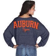 Auburn Tigers chicka-d Women's Cropped Varsity Jersey Long Sleeve Top - Navy