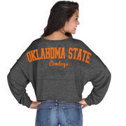 Oklahoma State Cowboys chicka-d Women's Cropped Varsity Jersey Long Sleeve Top - Black