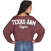 Texas A&M Aggies chicka-d Women's Cropped Varsity Jersey Long Sleeve Top - Maroon