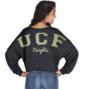 UCF Knights chicka-d Women's Cropped Varsity Jersey Long Sleeve Top - Black