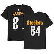 Antonio Brown Pittsburgh Steelers Youth Mainliner Name & Number T-Shirt - Black