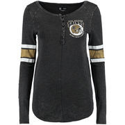 New Orleans Saints 5th & Ocean by New Era Women's Mineral Wash Henley T-Shirt - Black