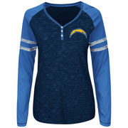 Los Angeles Chargers Majestic Women's Lead Play Long Sleeve Henley T-Shirt - Navy