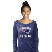 New England Patriots Women's Better In Double Face Long Sleeve Boatneck T-Shirt - Navy