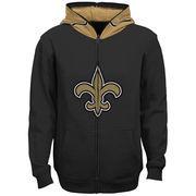New Orleans Saints Youth Helmet Full-Zip Hoodie - Black