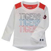 Auburn Tigers Under Armour Girls Toddler Nu Performance Long Sleeve T-Shirt - White