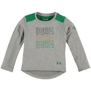 Notre Dame Fighting Irish Under Armour Girls Toddler Nu Performance Long Sleeve T-Shirt - Gray