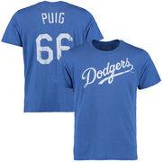 Yasiel Puig Los Angeles Dodgers Majestic Threads Tri-Blend Name & Number T-Shirt - Royal