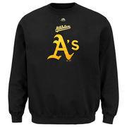 Oakland Athletics Majestic Big & Tall Critical Victory Fleece Crew Sweatshirt - Black