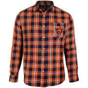 Chicago Bears Wordmark Flannel Long Sleeve Button-Up - Navy/